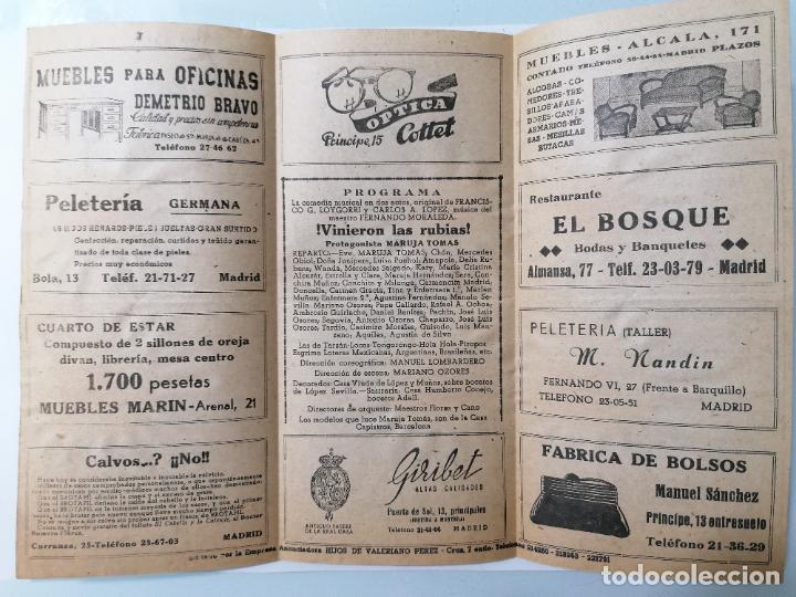 Coleccionismo: TEATRO MADRID, VINIERON LAS RUBIAS, AÑO 1948 - Foto 2 - 218060805