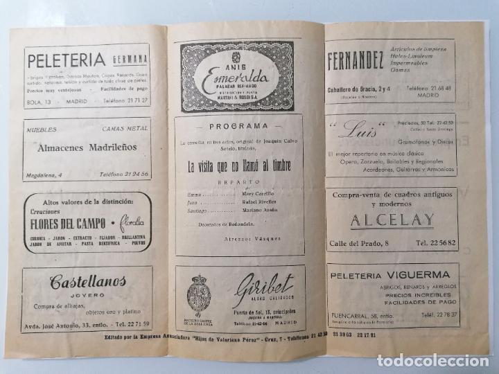 Coleccionismo: TRIPTICO TEATRO LARA, EMPRESA RAFAEL RIVELLES, PROGRAMA LA VISITA QUE NO LLAMO AL TIMBRE, AÑO 1948 - Foto 2 - 218060857