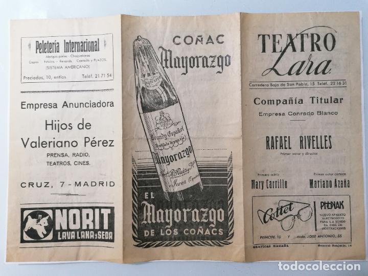 TRIPTICO TEATRO LARA, EMPRESA RAFAEL RIVELLES, PROGRAMA LA VISITA QUE NO LLAMO AL TIMBRE, AÑO 1948 (Coleccionismo - Laminas, Programas y Otros Documentos)