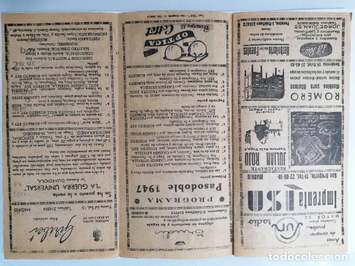 Coleccionismo: TRIPTICO TEATRO REINA VICTORIA, PROGRAMA PASODOBLE 1947, AÑO 1947 - Foto 2 - 218060876