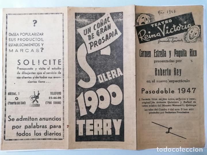 TRIPTICO TEATRO REINA VICTORIA, PROGRAMA PASODOBLE 1947, AÑO 1947 (Coleccionismo - Laminas, Programas y Otros Documentos)