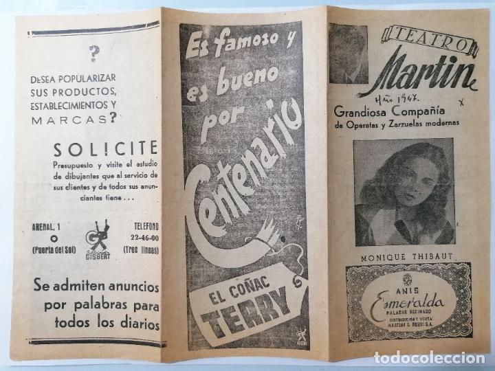 TRIPTICO TEATRO MARTIN, PROGRAMA HISTORIA DE DOS MUJERES, AÑO 1947 (Coleccionismo - Laminas, Programas y Otros Documentos)