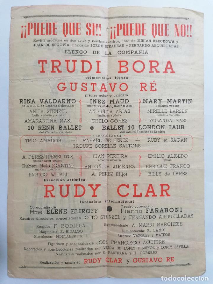 Coleccionismo: TEATRO GRAN VIA, COMPAÑIA TRUDI BORA, COMEDIA MUSICAL PUEDE QUE SI, PUEDE QUE NO,AÑOS 40 - Foto 2 - 218060968