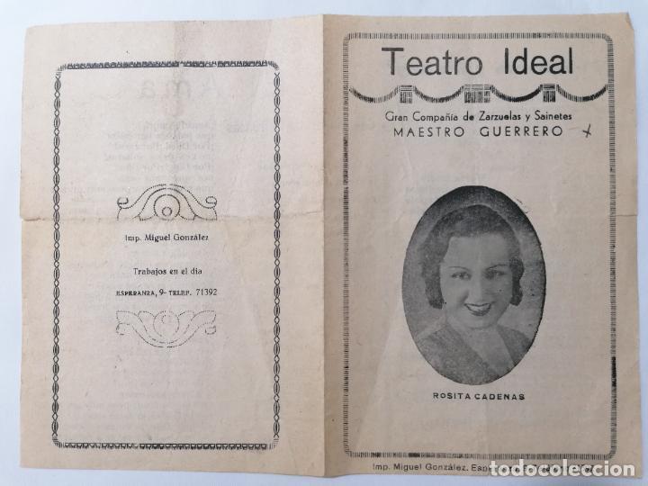TEATRO IDEAL, COMPAÑIA MAESTRO GUERRERO, PROGRAMA EL AMA, AÑOS 40 (Coleccionismo - Laminas, Programas y Otros Documentos)