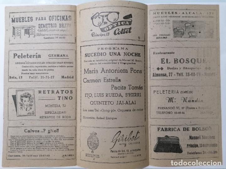 Coleccionismo: TEATRO MADRID, COMPAÑIA MARIA ANTONIETA, PROGRAMA SUCEDIO UNA NOCHE, AÑO 1947 - Foto 2 - 218061236
