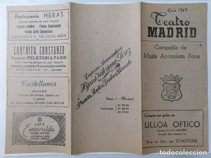 TEATRO MADRID, COMPAÑIA MARIA ANTONIETA, PROGRAMA SUCEDIO UNA NOCHE, AÑO 1947 (Coleccionismo - Laminas, Programas y Otros Documentos)