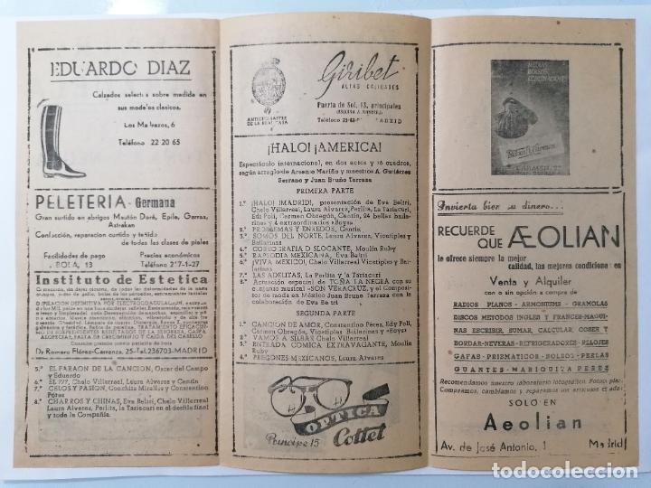 Coleccionismo: TEATRO DE LA ZARZUELA, COMPAÑIA TOÑA LA NEGRA, PROGRAMA HALO AMERICA, AÑO 1949 - Foto 2 - 218061345