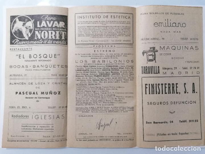Coleccionismo: TEATRO LA LATINA, COMPAÑIA MARIANO MADRID, PROGRAMA LOS BABILONIOS, AÑO 1949 - Foto 2 - 218061418