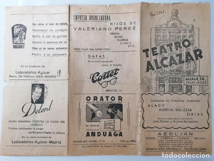 TEATRO ALCAZAR, PROGRAMA DOS MILLONES PARA DOS, AÑO 1946 (Coleccionismo - Laminas, Programas y Otros Documentos)