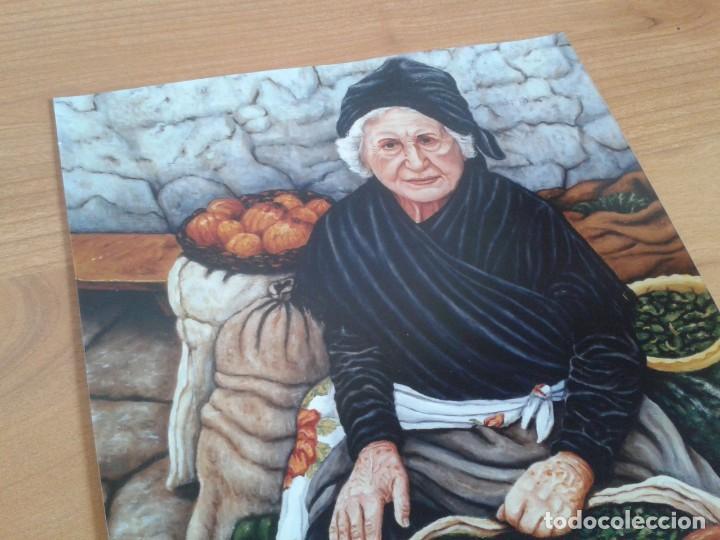 Coleccionismo: Lámina en papel fotográfico pintura al óleo -- Mujer anciana vende hortalizas -- Vega -- 30 x 23 cm - Foto 2 - 218395387