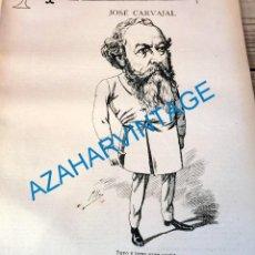 Coleccionismo: 1891, CARICATURA DEL POLITICO JOSE CARVAJAL HUE, APROX, 23X26 CMS, HOJA DE PUBLICACION. Lote 218713973