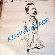 Coleccionismo: 1891, CARICATURA DEL ESCULTOR RICARDO BELLVER, 23X26 CMS, HOJA DE PUBLICACION. Lote 218714178