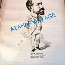 Coleccionismo: 1891, CARICATURA DEL POETA DE ALCOY, GONZALO CANTÒ, 23X26 CMS, HOJA DE PUBLICACION. Lote 218714571