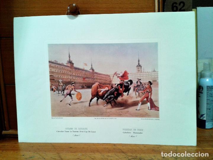 LITOGRAFIAS 4. CORRIDAS DE TOROS. AUTOR: BLANCHARD. IMPRESO POR CATTIER. (Coleccionismo - Laminas, Programas y Otros Documentos)