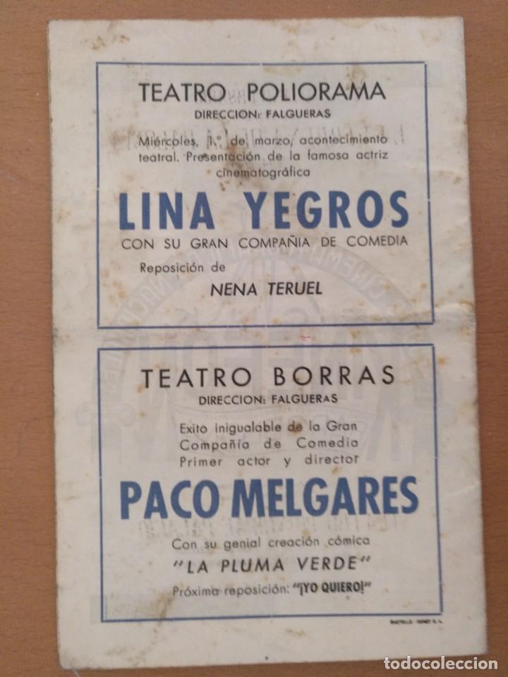 Coleccionismo: LA VERBENA DE LA PALOMA. 50 ANIVERSÁRIO. 1894-1944. PUBLICIDAD DE EPOCA TEATRO PRINCIPAL PALACIO - Foto 3 - 218735763