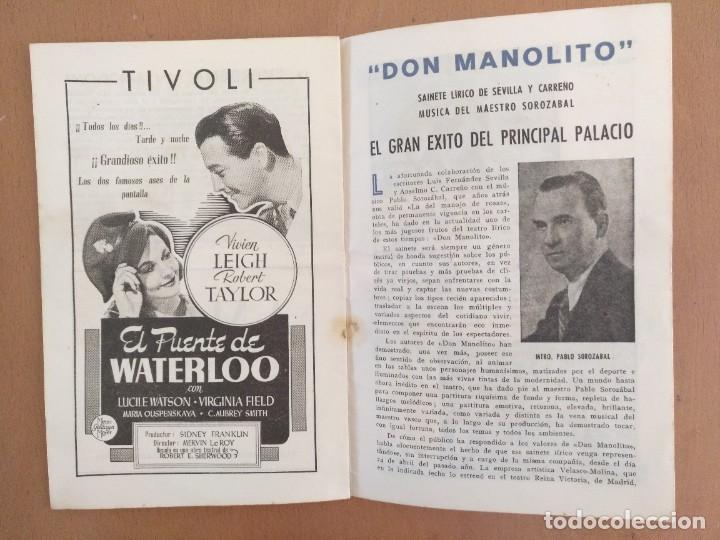 Coleccionismo: LA VERBENA DE LA PALOMA. 50 ANIVERSÁRIO. 1894-1944. PUBLICIDAD DE EPOCA TEATRO PRINCIPAL PALACIO - Foto 6 - 218735763