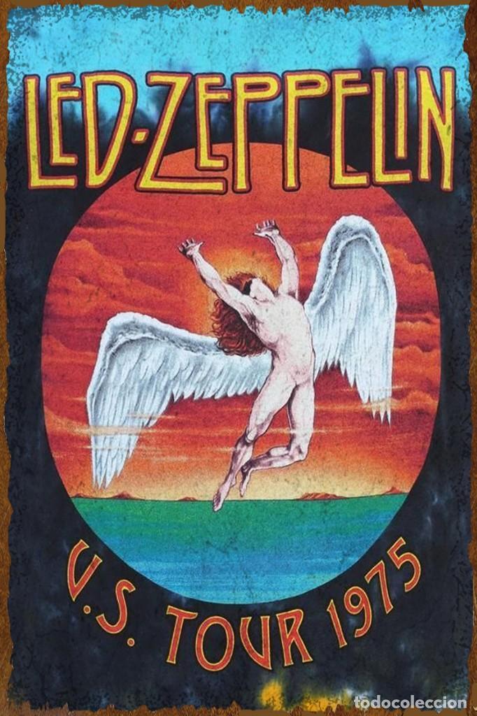 Coleccionismo: Espectacular placa metálica decorativa de pared , dedicada a LED ZEPPELIN , de diseño único. - Foto 2 - 219020347