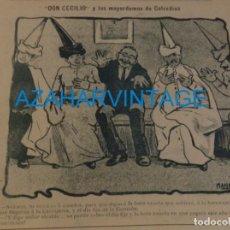 Coleccionismo: SEVILLA, 1902, CARICATURA SEMANA SANTA , MAYORDOMOS COFRADIAS,FIRMADA POR MANOLO, 21X17 CM. Lote 219311535