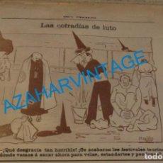 Coleccionismo: SEVILLA, 1902, CARICATURA SEMANA SANTA, FESTIVALES HERMANDADES,FIRMADA POR MANOLO, 21X15 CM. Lote 219313990