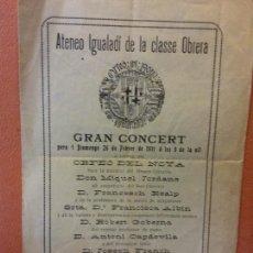 Colecionismo: ATENEO IGUALADÍ DE LA CLASSE OBRERA. 26 DE FEBRER DE 1911.. Lote 219828883