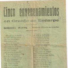 Collezionismo: DÍPTICO LITERATURA DE CORDEL; CINCO ENVENENAMIENTOS EN GRANJA DE ESCARPE.... (LA GRANJA D´ESCARP). Lote 220350163