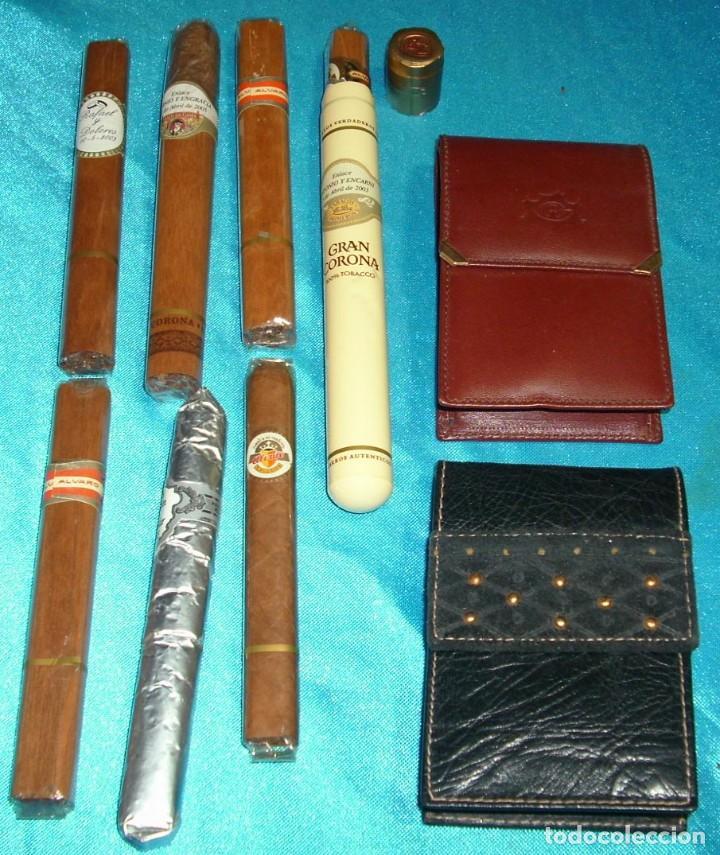 TABACO LOTE DE 2 PITILLERAS CUERO SIN USO Y RARAS ANTIGUAS Y 7 PUROS PERFECTOS- LEER TODO (Coleccionismo - Objetos para Fumar - Otros)