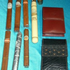 Coleccionismo: TABACO LOTE DE 2 PITILLERAS CUERO SIN USO Y RARAS ANTIGUAS Y 7 PUROS PERFECTOS- LEER TODO. Lote 220419035