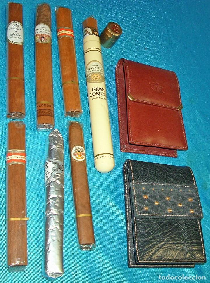 Coleccionismo: TABACO LOTE DE 2 PITILLERAS CUERO SIN USO Y RARAS ANTIGUAS Y 7 PUROS PERFECTOS- LEER TODO - Foto 2 - 220419035