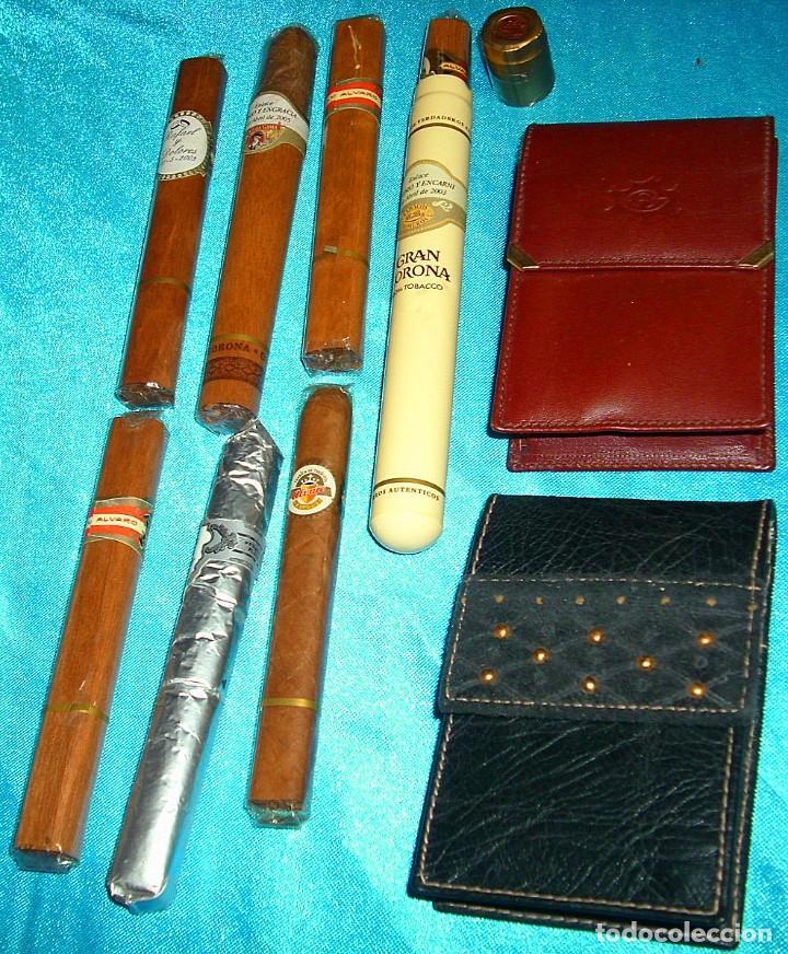 Coleccionismo: TABACO LOTE DE 2 PITILLERAS CUERO SIN USO Y RARAS ANTIGUAS Y 7 PUROS PERFECTOS- LEER TODO - Foto 3 - 220419035