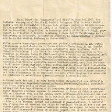 """Coleccionismo: 1967 MOR SR. FREDERIC RODA VENTURA - HOMENAJE DR. JORDI RUBIÓ DETENCIONES """"SOM EN UN PAÍS OCUPAT"""". Lote 221002610"""