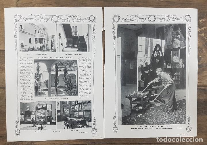 Coleccionismo: 1912 2 hojas. Reportaje nuevo estudio PINTOR JOAQUIN SOROLLA EN MADRID. Revista Blanco y Negro - Foto 2 - 221010291