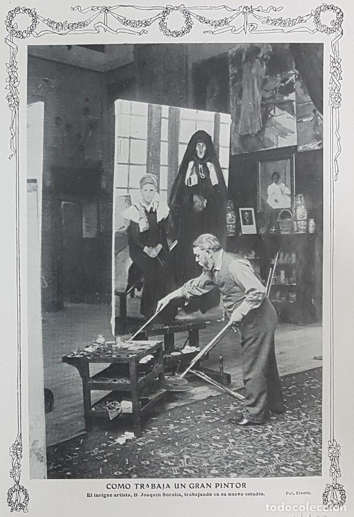 1912 2 HOJAS. REPORTAJE NUEVO ESTUDIO PINTOR JOAQUIN SOROLLA EN MADRID. REVISTA BLANCO Y NEGRO (Coleccionismo - Laminas, Programas y Otros Documentos)