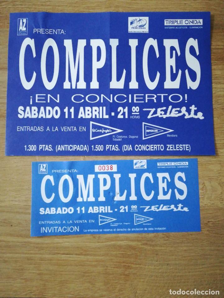 ANUNCIO E INVITACIÓN DEL CONCIERTO DE CÓMPLICES EN BARCELONA SALA ZELESTE (Coleccionismo - Laminas, Programas y Otros Documentos)