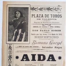 Collezionismo: 1912. REPRESENTACIÓN DE AIDA CON RAMONA GORGÉ. HOJA VOLANDERA. 31X22. Lote 221493656
