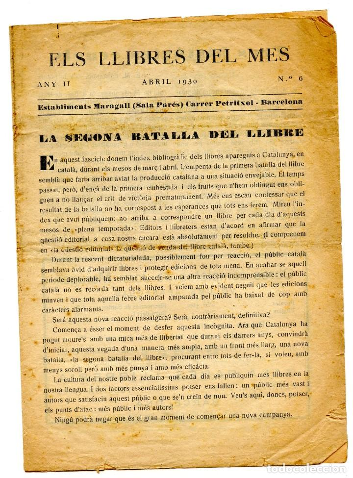 BUTLLETÍ EDITORIALL (ABRIL 1930) ELS LLIBRES DEL MES ( ESTABLIMENTS MARAGALL SALA PARÉS, BARCELONA) (Coleccionismo - Laminas, Programas y Otros Documentos)