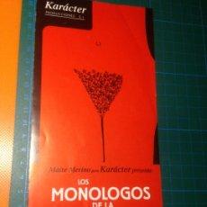 Coleccionismo: LOS MONOLOGOS DE LA VAGINA - DIPTICO - KARÁCTER PRODUCCIONES - TEATRO. Lote 221733481