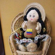 Coleccionismo: BONITA MUÑECA TIPICA COLOMBIANA. MUÑECA DE TRAPO. MEDIDAS 35*20*11 CM. Lote 221741913