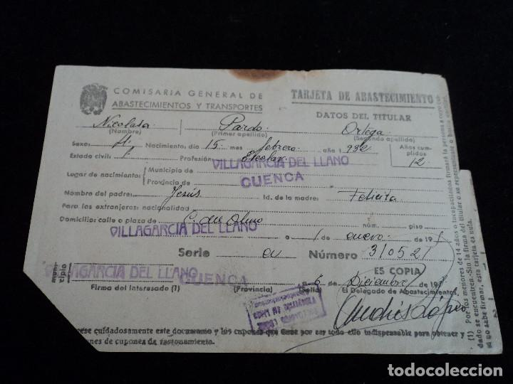 COMISARIA GENERAL DE ABASTECIMIENTOS Y TRANSPORTES, TARJETA DE ABASTECIMIENTOS VILLAGARCIA DEL LLANO (Coleccionismo - Laminas, Programas y Otros Documentos)