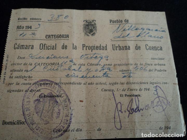 CAMARA OFICIAL DE LA PROPIEDAD URBANA DE CUENCA, VILLAGARCIA DEL LLANO 1943 (Coleccionismo - Laminas, Programas y Otros Documentos)
