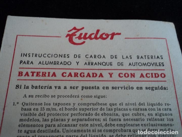 Coleccionismo: Folleto libro de instrucciones batería Tudor CUADRO DE CARGAS - Foto 2 - 221790605