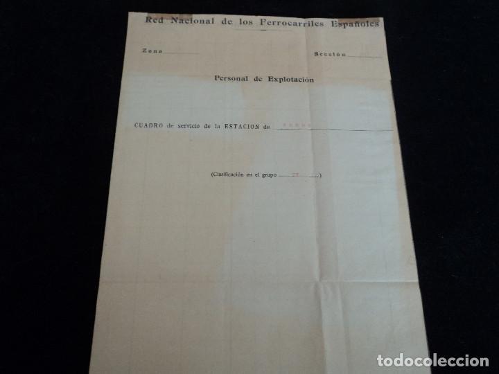 RED NACIONAL DE FERROCARRILES ESPAÑOLES. CUADRO DE SERVICIO DE LA ESTACION DE RONDA 1969 39 X 27 CM (Coleccionismo - Laminas, Programas y Otros Documentos)