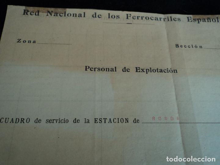 Coleccionismo: Red Nacional de Ferrocarriles Españoles. cuadro de servicio de la estacion De Ronda 1969 39 x 27 cm - Foto 2 - 221791066
