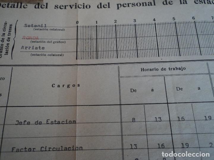 Coleccionismo: Red Nacional de Ferrocarriles Españoles. cuadro de servicio de la estacion De Ronda 1969 39 x 27 cm - Foto 4 - 221791066