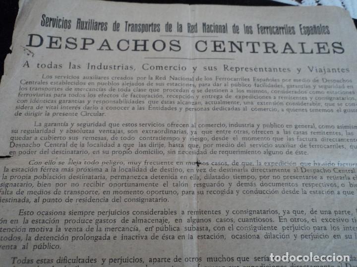 Coleccionismo: despachos centrales de ferrocarriles españoles en valencia, albacete jaen y cuenca, 42 x 22 cm - Foto 2 - 221791527