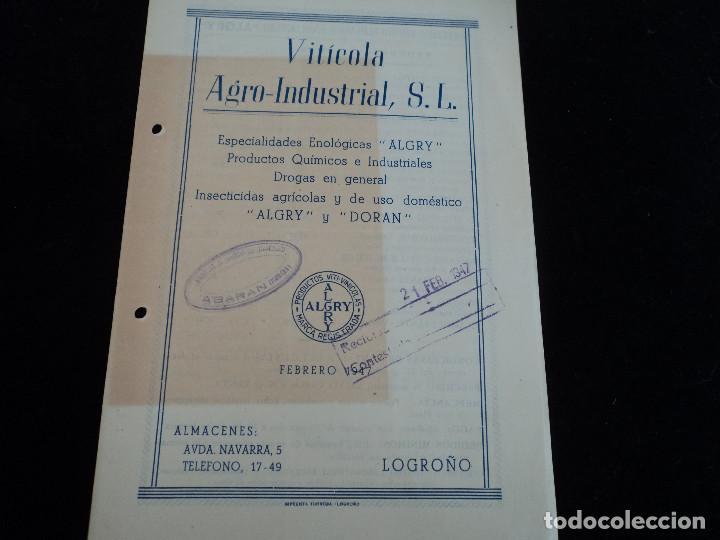 VITICOLA ARO-INDUSTRIAL, S. L. ESPECIALIDADES ENOLOGICAS ALGRY Y DORAN INSECTICIDAS, LOGROÑO 1947 (Coleccionismo - Laminas, Programas y Otros Documentos)