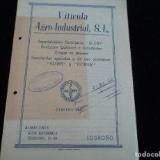 Collectionnisme: VITICOLA ARO-INDUSTRIAL, S. L. ESPECIALIDADES ENOLOGICAS ALGRY Y DORAN INSECTICIDAS, LOGROÑO 1947. Lote 221792160