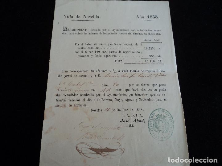 ANTIGUO DOCUMENTO 1858 DE LA VILLA DE NOVELDA, RECAUDACION PARA CUBRIR LOS GASTOS DE GUARDAS RURALES (Coleccionismo - Laminas, Programas y Otros Documentos)