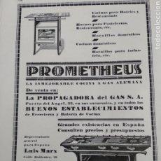 Coleccionismo: PUBLICIDAD PERTENECIENTE A REVISTA AÑO 1933-1934 24CMX17CM.PROMETHEUS. Lote 221879232