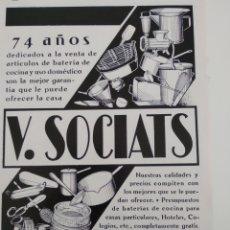 Coleccionismo: PUBLICIDAD PERTENECIENTE A REVISTA AÑO 1933-1934 24CMX17CM.V SOCIATS. Lote 221884242
