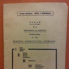 Collectionnisme: CICLO DE SESIONES DE MÚSICA. GRUPO ESCOLAR MILÁ Y FONTANALS. Lote 221921980